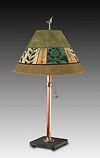 Copper Table Lamp with Medium Conical Shade in Spring Medley Apple by Janna Ugone and Justin Thomas (Mixed-Media Table Lamp)