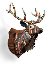 Great Plains Collection (Elk) by Dolan Geiman (Mixed-Media Wall Sculpture)