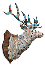 Great Plains Collection (White Stag) by Dolan Geiman (Mixed-Media Wall Sculpture)