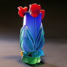 Cobalt Tulip Vase by Tommie Rush (Art Glass Vase)