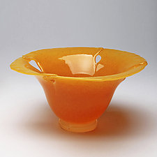 California Poppy Bowl by Janet Nicholson and Rick Nicholson (Art Glass Bowl)