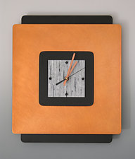 Square on Square in White by Linda Lamore (Painted Clock)