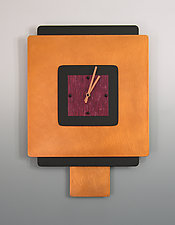 Square on Square with Pendulum in Crimson by Linda Lamore (Painted Clock)