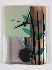 Sage Bamboo Pendulum Clock by Nina  Cambron (Art Glass Clock)