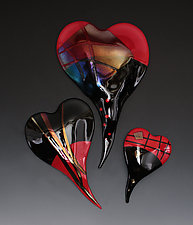 Red and Black Glass Wall Hearts by Nina  Cambron (Art Glass Wall Sculpture)