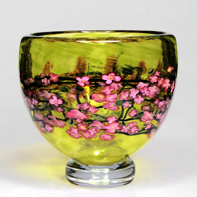 Cherry Blossom Footed Bowl on Lime