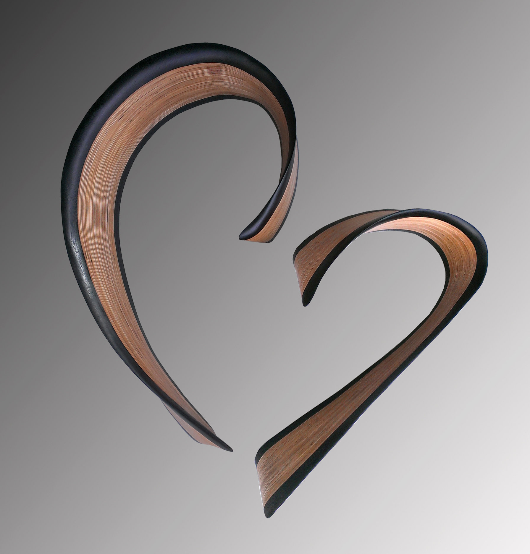 Chatham heart in wenge by kerry vesper wood wall for Wooden heart wall decor