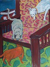 Three Cats on Chair by Elisa Root (Oil Painting)