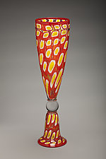 Red Mosaic Tall Cone Vase by Bryan Goldenberg (Art Glass Vase)