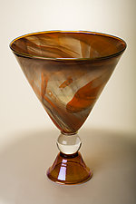 Gold Footed Alabaster Red Martini Bowl by Bryan Goldenberg (Art Glass Vessel)