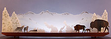 Yellowstone Standoff by Bernie Huebner and Lucie Boucher (Art Glass Sculpture)