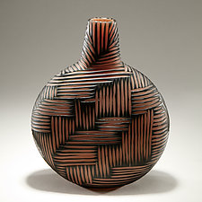 Carved Vessel by Christopher Jeffries (Art Glass Vessel)