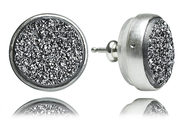 Sterling Silver and Silver Drusy Stud Earrings