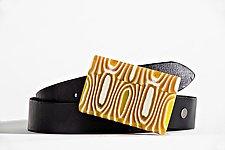 Butterscotch Buckle and Belt by Helen Rudy  (Art Glass Belt Buckle)