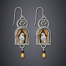 Snowy Owl Earrings by Dawn Estrin (Silver Earrings)