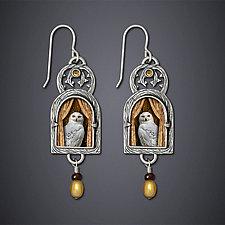 Snowy Owl Earrings by Dawn Estrin (Silver Earrings)