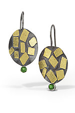 Oval Confetti Earrings with Chrome Diopside by Lori Gottlieb (Gold, Silver & Stone Earrings)