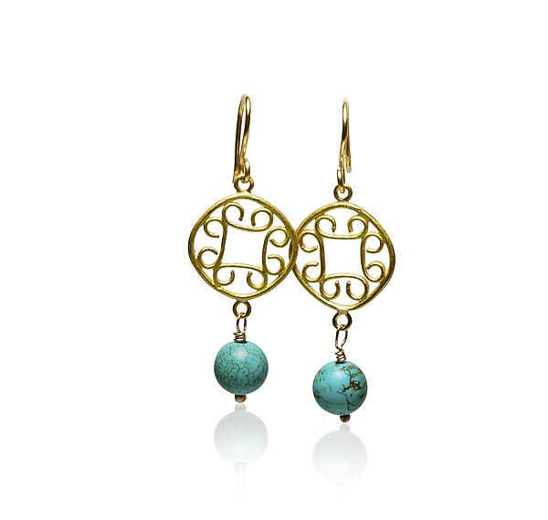 22k Gold & Turquoise Scroll Earrings
