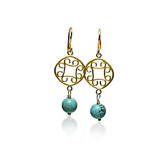 22k Gold & Turquoise Scroll Earrings by Nancy Troske (Gold & Stone Earrings)