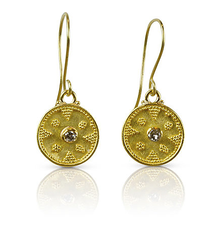 Granulated Gold & Diamond Earrings