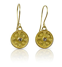 Granulated Gold & Diamond Earrings by Nancy Troske (Gold & Stone Earrings)