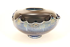 Dark Green and Black Overlay Bowl by Dierk Van Keppel (Art Glass Bowl)
