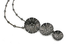 Triple Flower Pendant in Blackened Silver by Catherine Iskiw (Silver & Stone Necklace)