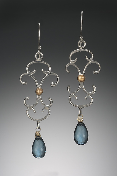 Large Scroll Chandelier Earrings