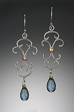 Large Scroll Chandelier Earrings by Kennedi Milan (Gold, Silver & Stone Earrings)