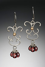 Small Scroll Chandelier Garnet Earrings by Kennedi Milan (Gold, Silver & Stone Earrings)