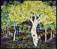 White Trees by Linda Beach (Fiber Wall Art)