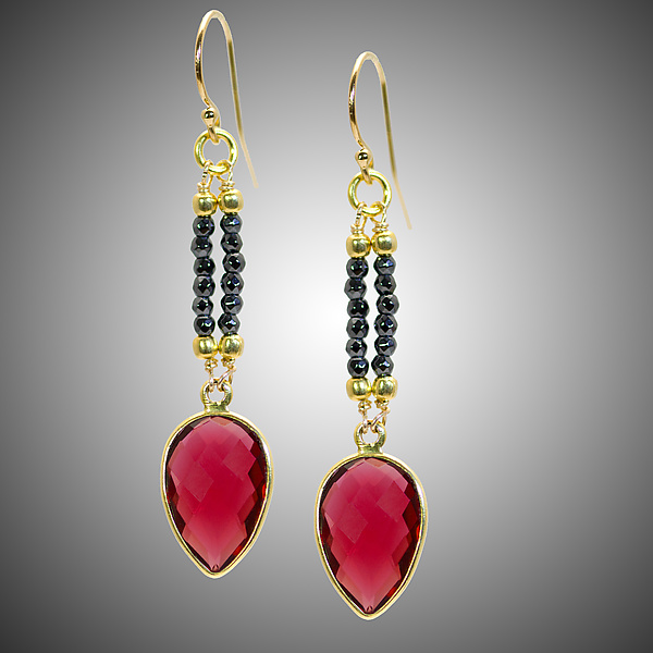 Red Quartz and Diamond Earrings