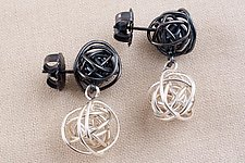 Black Silver Wireball Stack by Kathy Frey (Silver Earrings)