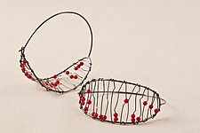 Medium Oxidized Luna Hoops with Coral by Kathy Frey (Silver & Stone Earrings)