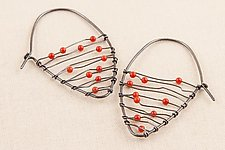 Oxidized Shield Earrings with Coral by Kathy Frey (Silver & Stone Earrings)