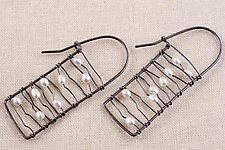 Black and White Ladder Earrings by Kathy Frey (Silver & Pearl Earrings)