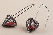 Caged Coral Pyramid Earrings by Kathy Frey (Silver & Stone Earrings)