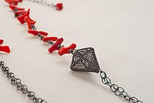 Oxidized Pyramid Multichain Necklace with Coral by Kathy Frey (Silver & Stone Necklace)
