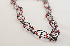 Oxidized Linked Seedpod Necklace with Coral by Kathy Frey (Silver & Stone Necklace)