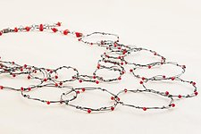Oxidized Double Strand Twisted Rings with Coral by Kathy Frey (Silver & Stone Necklace)