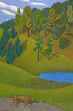 Dog and Pond by Jane Troup (Giclee Print)