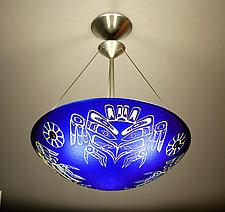 Kwakiutl Thunderbird Pendant Lamp by George Scott (Art Glass Pendant Lamp)
