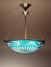 San Ildefonso Dragon Pendant Lamp by George Scott (Art Glass Pendant Lamp)