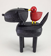 Black Lab with Red Bird Buddy by Hilary Pfeifer (Wood Sculpture)