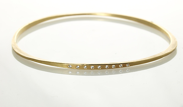 Forged Gold Bangle with Diamonds