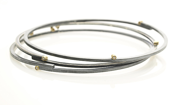 Stepped Bangle in Silver, Gold and Diamonds