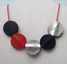 KOTA Silver-Red-Black Necklace by Klara Borbas (Polymer Clay Necklace)