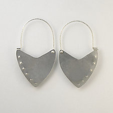 Shield Hoop Earrings by Susan Crow (Silver Earrings)