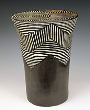 Layered Chevron Table by Larry Halvorsen (Ceramic Side Table)