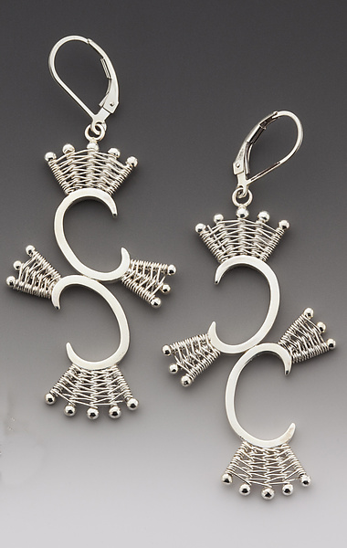 Double Scroll Silver Leverback Earrings